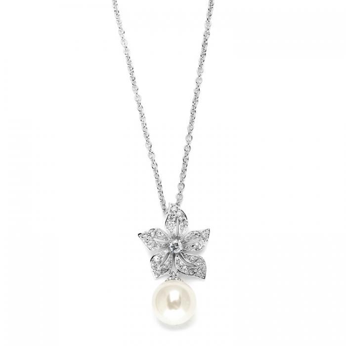 Colier Borealy Argint 925 Pearl Drop Vintage Floral 0