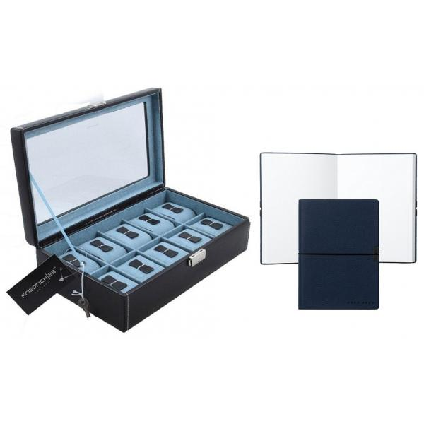 Cutie 10 ceasuri Bond Blue by Friedrich, made in Germany, si Note Pad Hugo Boss - personalizabil 0