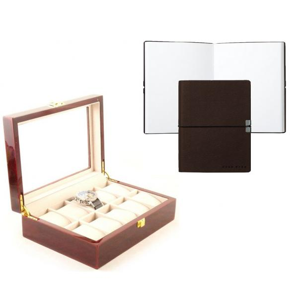 Set cutie 10 ceasuri Red Wood Luxury si Note pad Hugo Boss - personalizabil-big