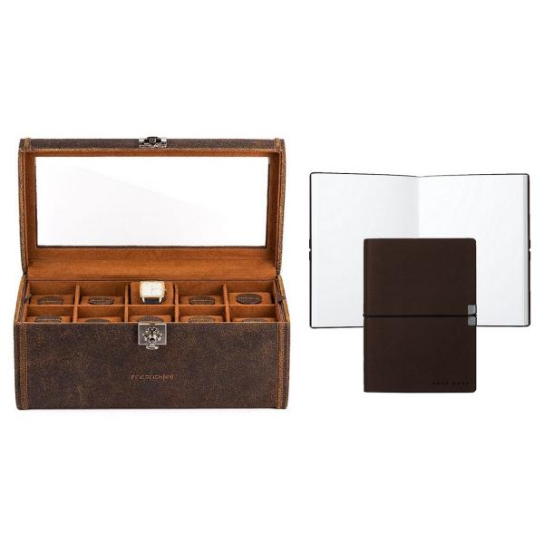 Set Cutie 20 ceasuri Cubano Piele Naturala by Friedrich si Note Pad Burgundy Hugo Boss-big