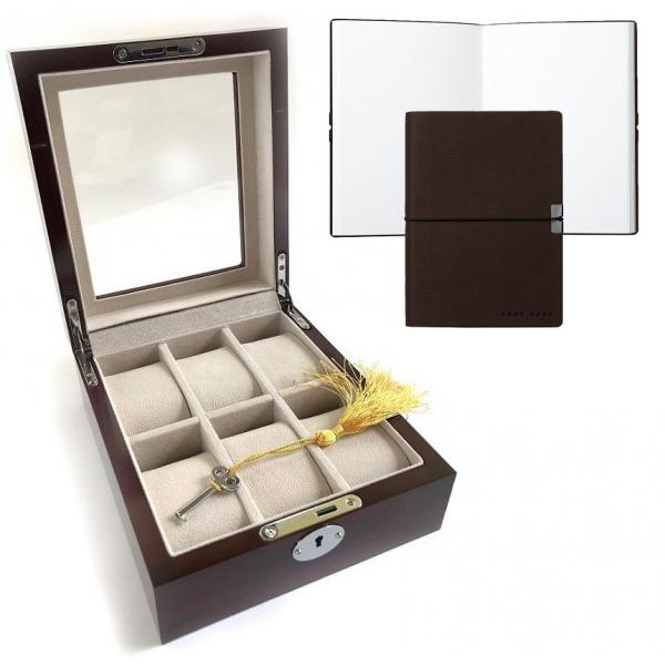 Set Cutie 6 ceasuri lemn Luxury Brown si Note Pad Burgundy Hugo Boss 0