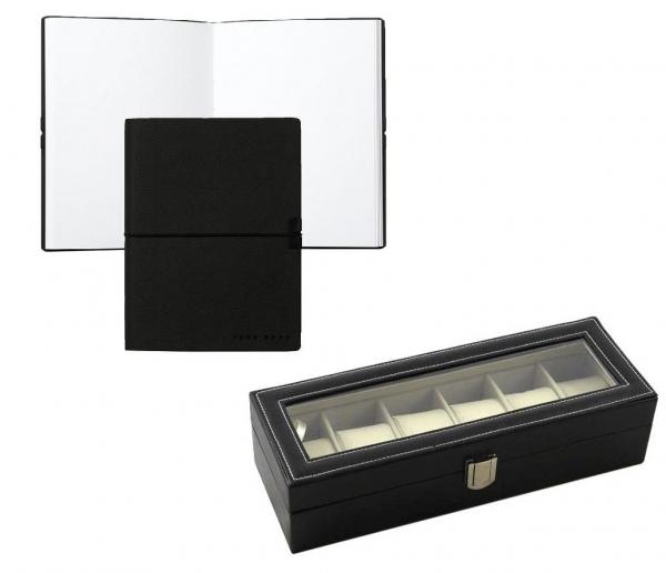 Cutie 6 ceasuri piele capac transparent si Notepad Hugo Boss - personalizabil-big