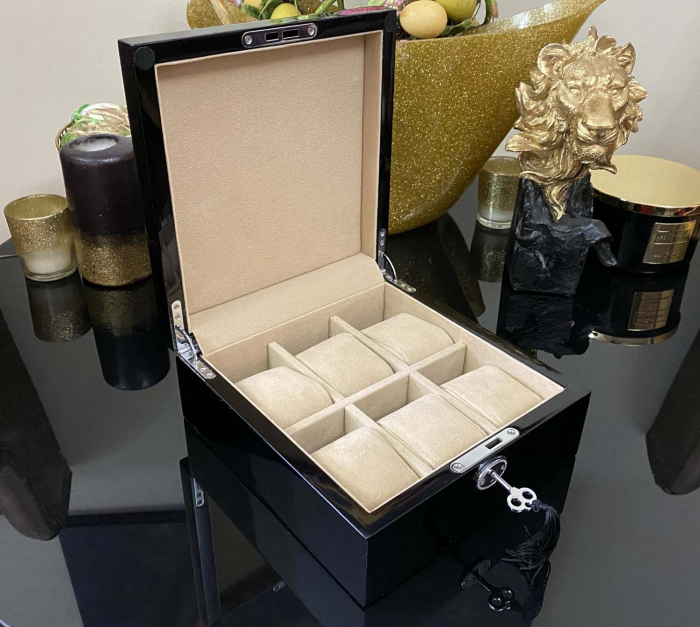Cutie 6 ceasuri Luxury Wooden Black [6]