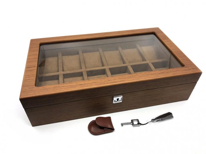 Cutie 12 ceasuri  Luxury Wood Brown 1
