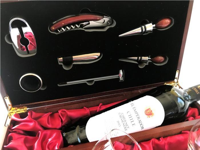Cutie de Vin pentru o sticlă cu 7 Accesorii şi Pahare 2
