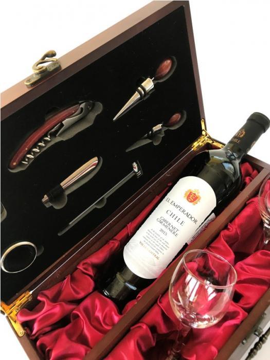 Cutie de Vin pentru o sticlă cu 7 Accesorii şi Pahare 1