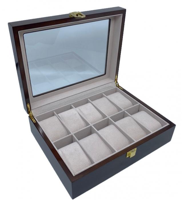 Cutie depozitare 10 ceasuri din lemn Classic Brown [4]