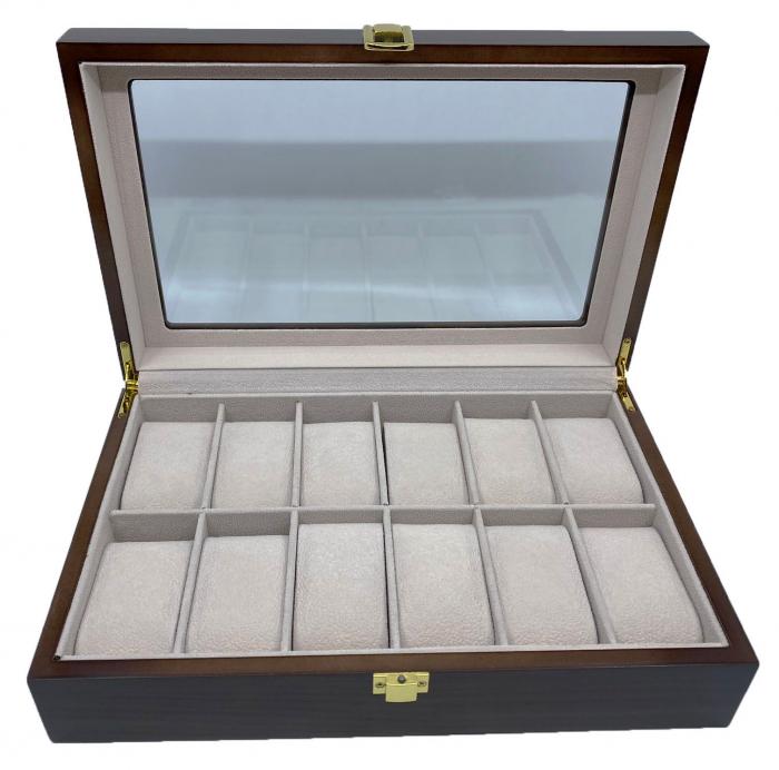Cutie depozitare 12 ceasuri din lemn Classic Dark Brown 3