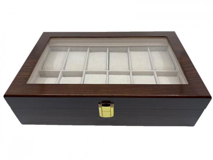 Cutie depozitare 12 ceasuri din lemn Classic Dark Brown 0