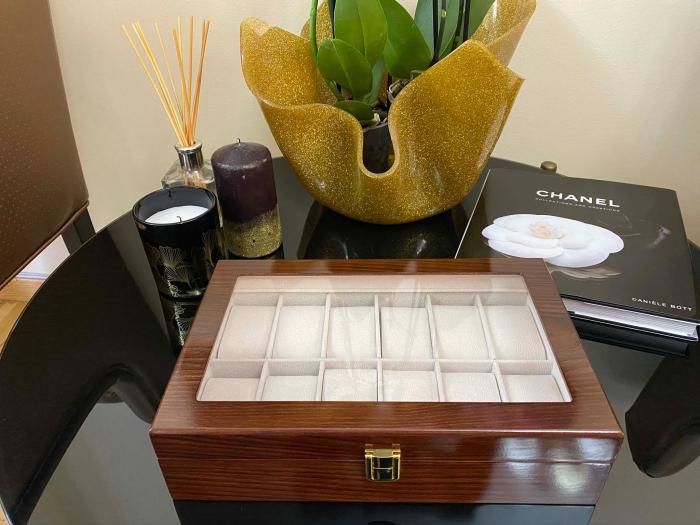 Cutie depozitare 12 ceasuri din lemn Classic Dark Brown 4