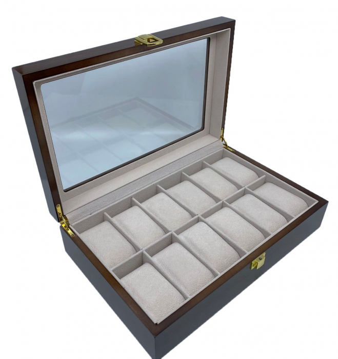 Cutie depozitare 12 ceasuri din lemn Classic Dark Brown 2