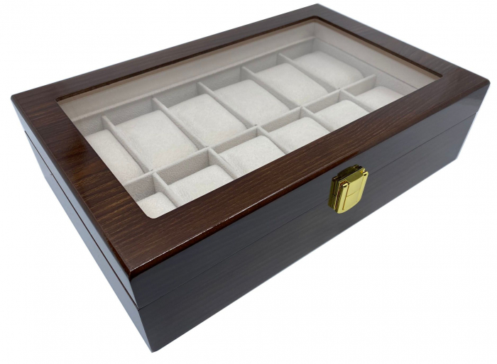 Cutie depozitare 12 ceasuri din lemn Classic Dark Brown 1