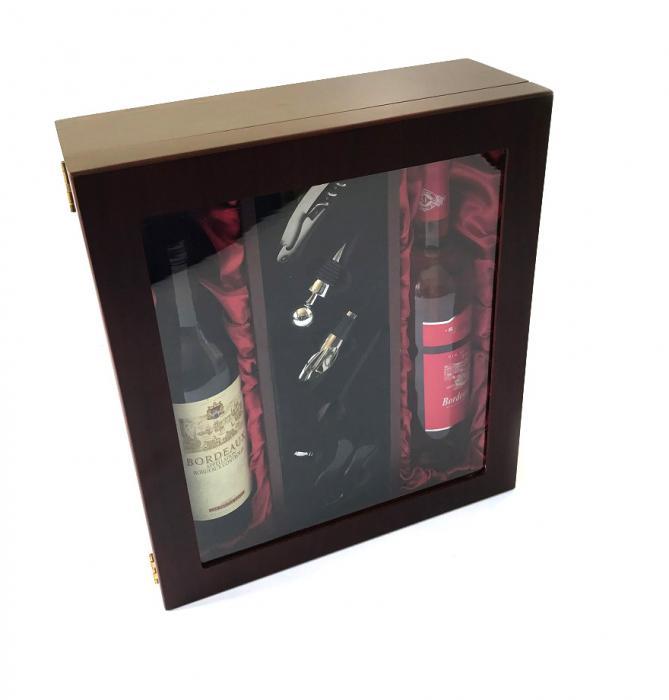 Cutie Dublă de Vin din Lemn şi Accesorii cu Capac Transparent 2