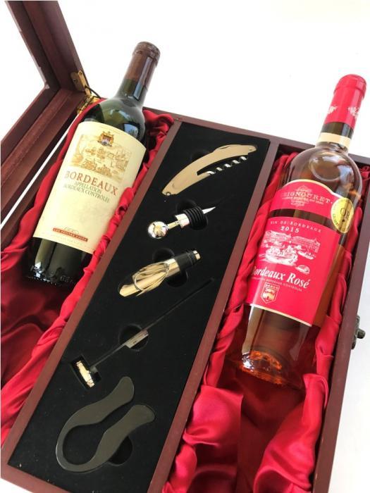 Cutie Dublă de Vin din Lemn şi Accesorii cu Capac Transparent 1