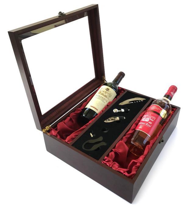 Cutie Dublă de Vin din Lemn şi Accesorii cu Capac Transparent 0