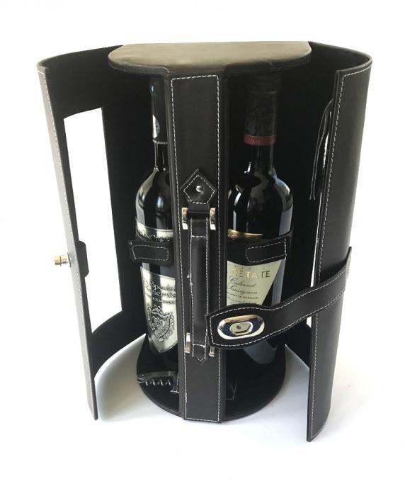 Cutie dubla de Vin de lux din piele 0