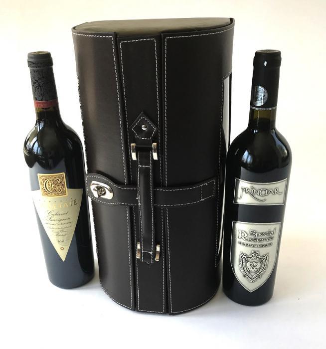 Cutie dubla de Vin de lux din piele 1