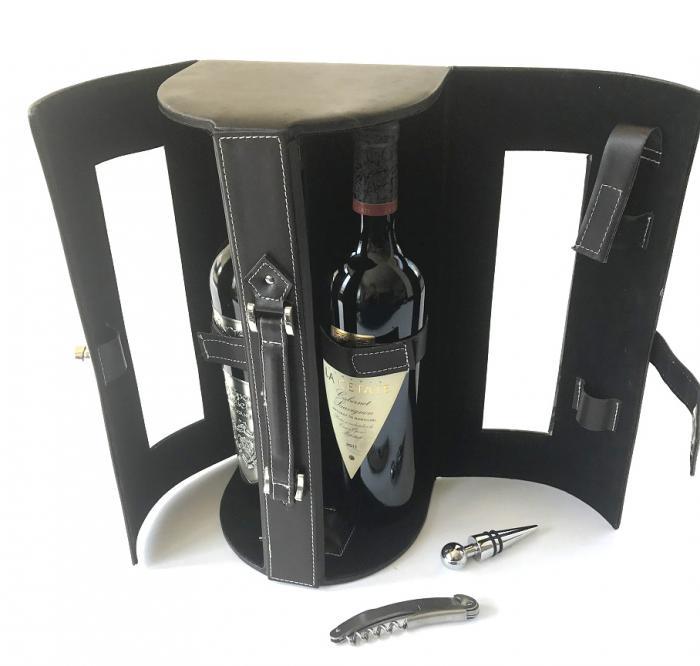 Cutie dubla de Vin de lux din piele 2