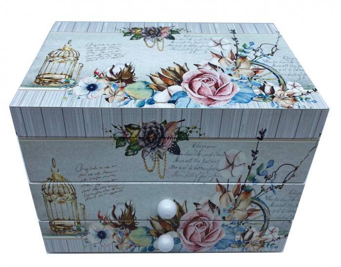 Cutie muzicala din lemn pentru bijuterii Shabby Chic 0