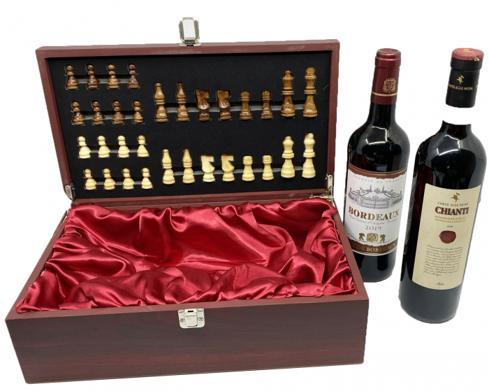 Cutie Vin Dubla si Sah + 2 Sticle de Vin rosu, sec: Chianti si Bordeaux 2
