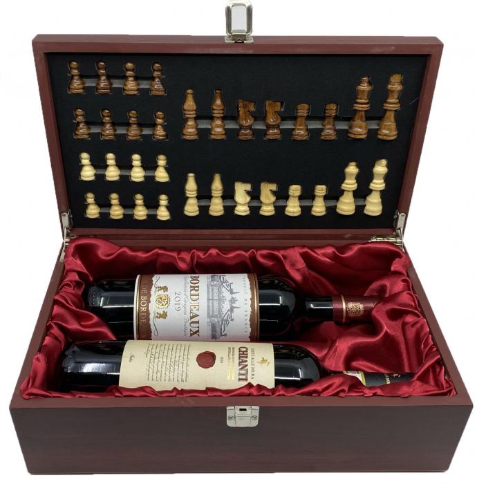 Cutie Vin Dubla si Sah + 2 Sticle de Vin rosu, sec: Chianti si Bordeaux 0