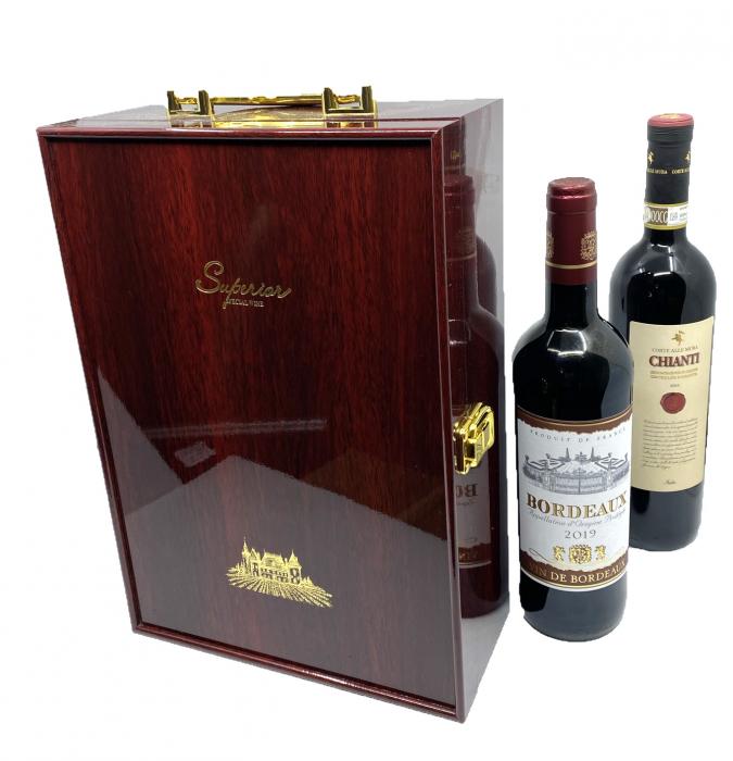 Cutie Vin Dubla din Lemn cu 3 Accesorii + Vin Bordeaux + Vin Chianti [1]