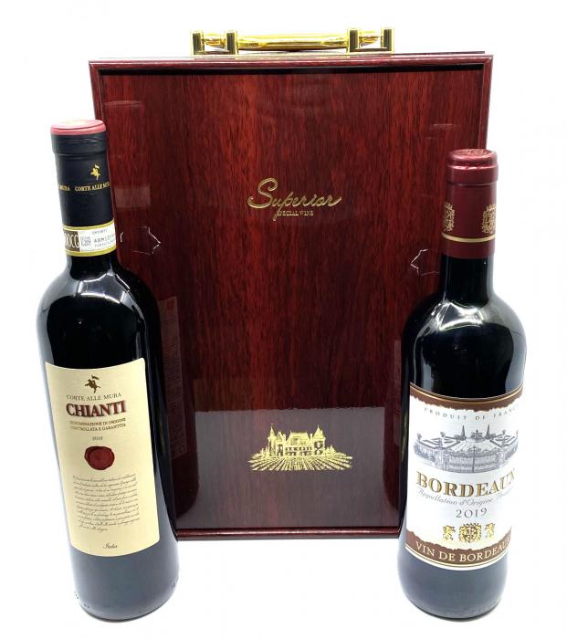 Cutie Vin Dubla din Lemn cu 3 Accesorii + Vin Bordeaux + Vin Chianti [0]