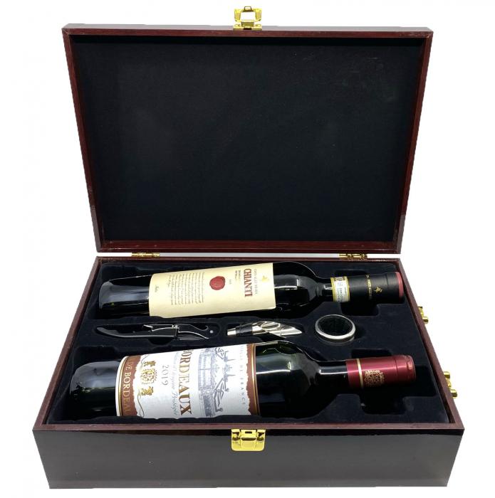 Cutie Vin Dubla din Lemn cu 3 Accesorii + Vin Bordeaux + Vin Chianti [2]