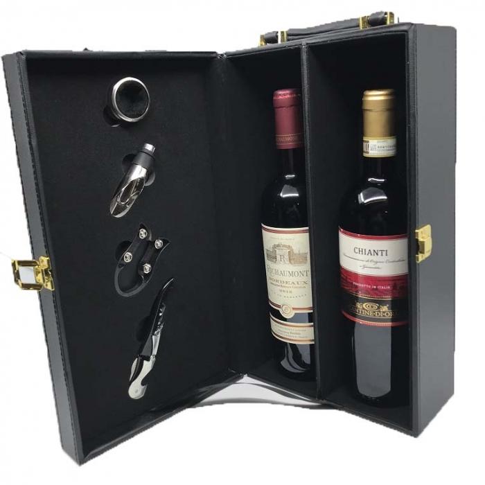 Cutie Dubla de Vin cu 4 Accesorii 1