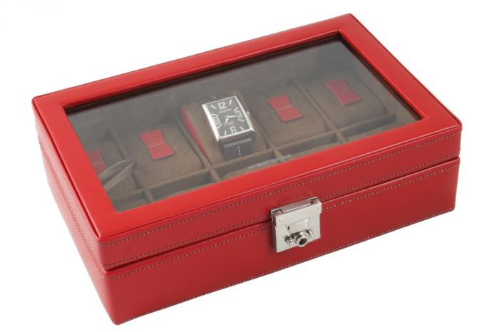 Cutie 10 Ceasuri piele naturala pentru femei Cordoba Bright Red by Friedrich - made in Germany-big