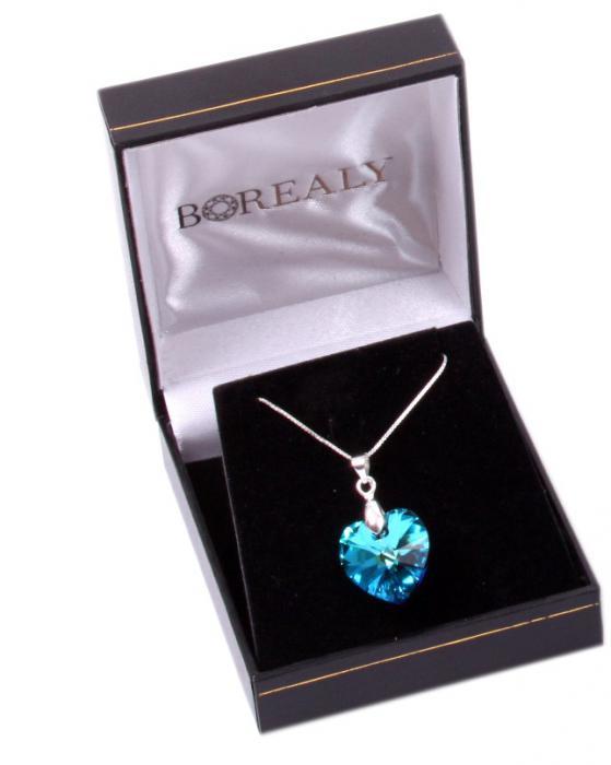 Cutie Bijuterii Muzicală Balerină Albă & Pandativ 18 mm Blue Heart-big