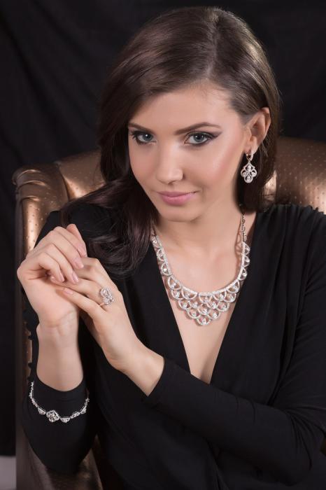 Set Borealy Argint 925 Colier, Cercei, Brăţară şi Inel Dantelle Iris-big