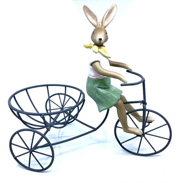 Decoratiune Iepuras pe Bicicleta Suport de Oua - Cadou Paste 2021 0