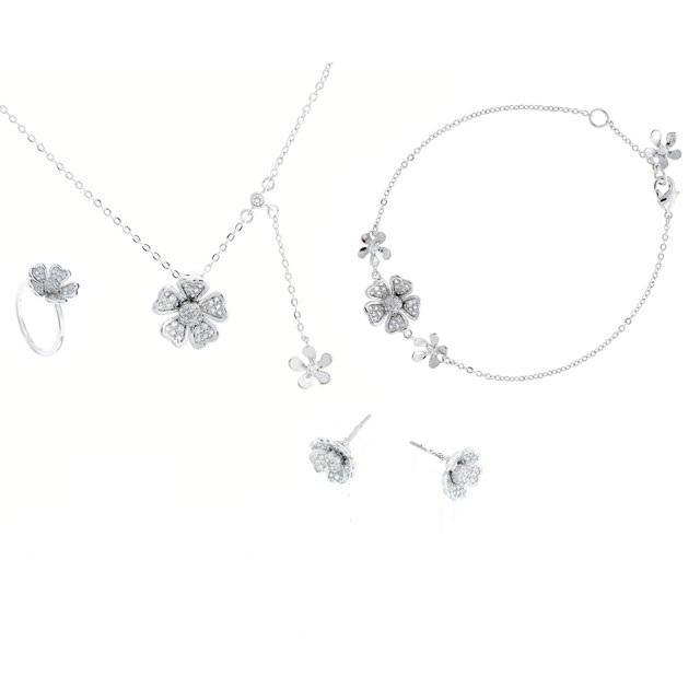 Set Borealy Medalion, Bratara, Cercei, Inel Delicate Flower-big