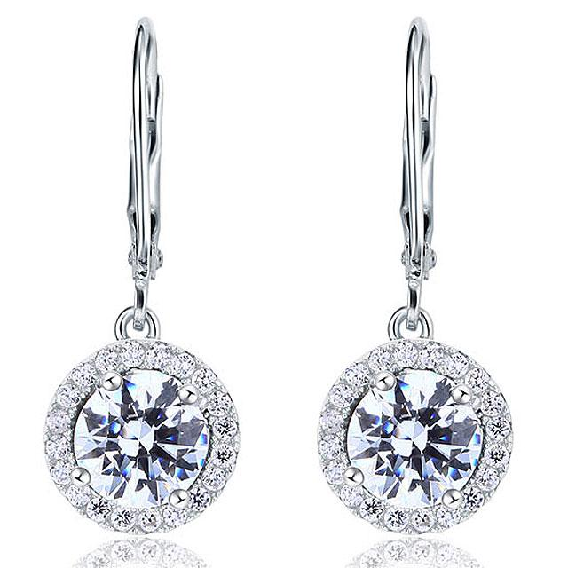 Cercei Borealy Argint 925 Diamonds Halo Dangle-big