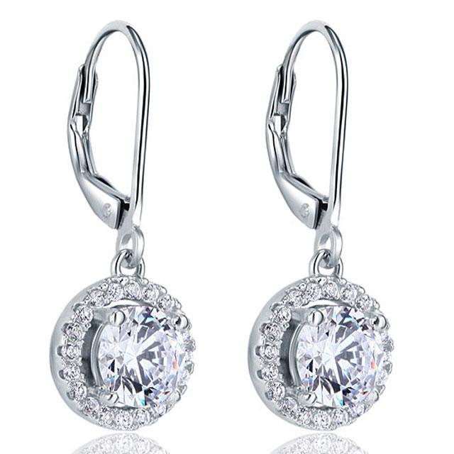 Cercei Borealy Argint 925 Diamonds Halo Dangle 1