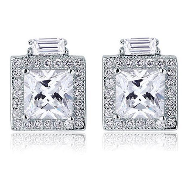 Cercei Borealy Argint 925 Diamonds Halo Square-big