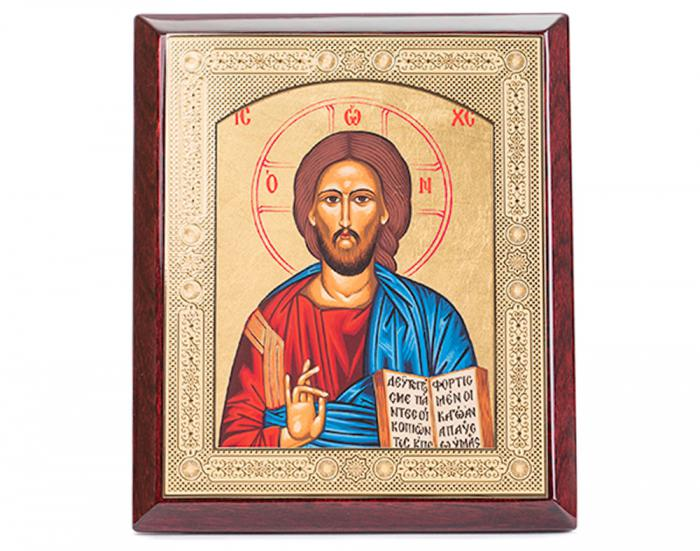 Domnul Iisus Hristos, Icoana Credan placata cu aur - made in Spain-big