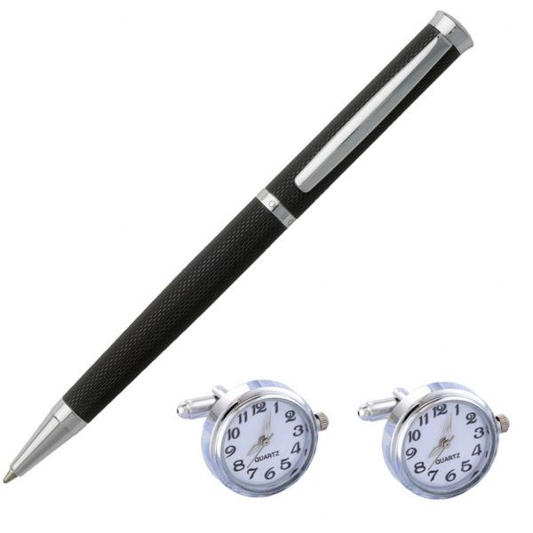 Elegant Premium Gift Set Pix Hugo Boss si Butoni cu Ceas Functional White Quartz-big