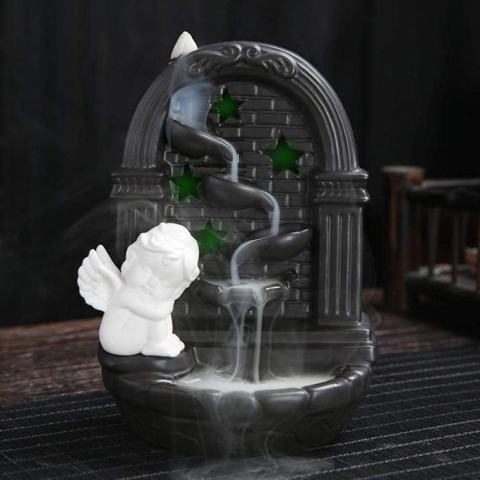 Fantana Ingeras Aromaterapie Fum Curgator cu Efect de Cascada & Set 40 conuri aromatice 0