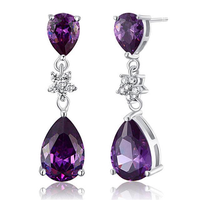 Cercei Borealy Argint 925 Purple Sapphire Flower Drop 1