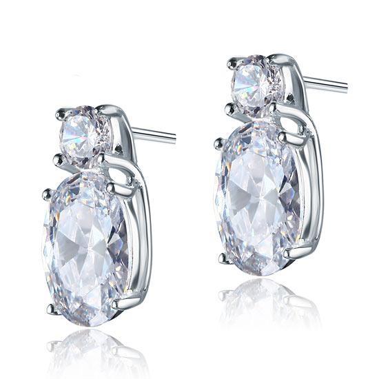 Cercei Argint 925 Double Clear Crystal, by Borealy 0