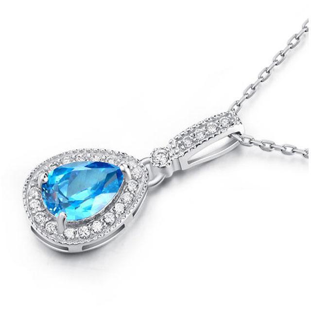Colier Mademoiselle Blue Topaz 2 Carate Diamonds Argint 925 1