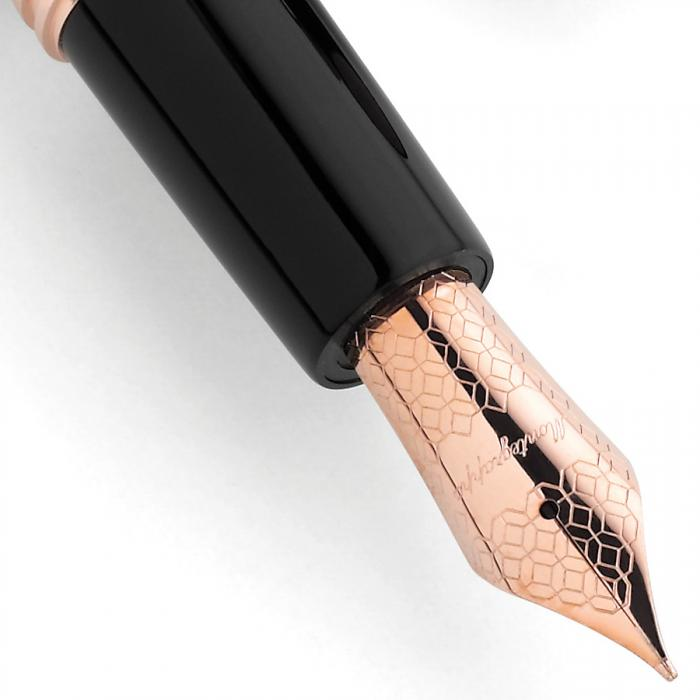 Fortuna Black Rose Gold Fountain Pen by Montegrappa, Made in Italy 2
