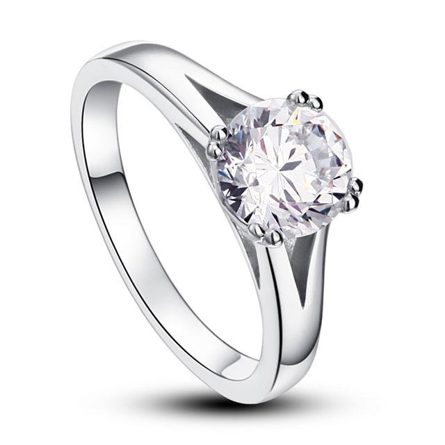 Inel Solitaire Simulated Diamond Argint 925 Marimea 6-big