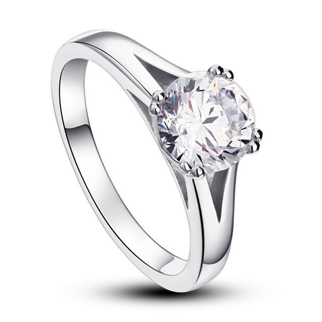 Inel Solitaire Simulated Diamond Argint 925 Marimea 6 1