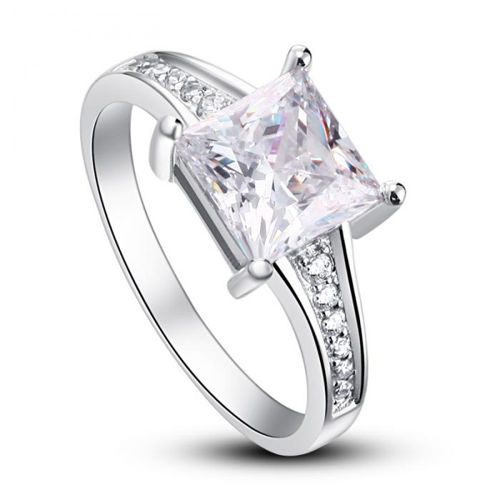 Inel Borealy Argint 925 Simulated Diamond Zirconiu Princess Marimea 6 4