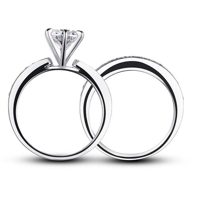 Set Inel şi Verighetă Borealy Argint 925 Solitaire Princess Marimea 8 2