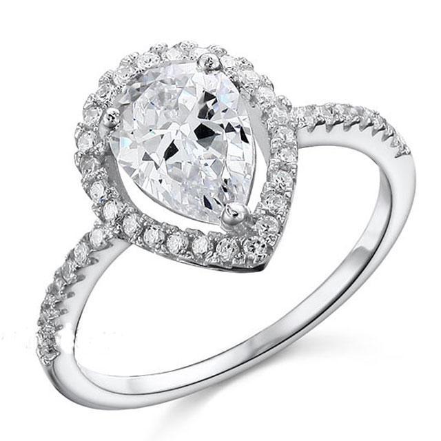 Inel Pear Silver Simulated Diamond Argint 925 Marimea 6 0