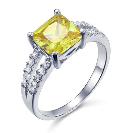 Inel Borealy Argint 925 Created Diamond Princess Yellow Canary Marimea 6-big